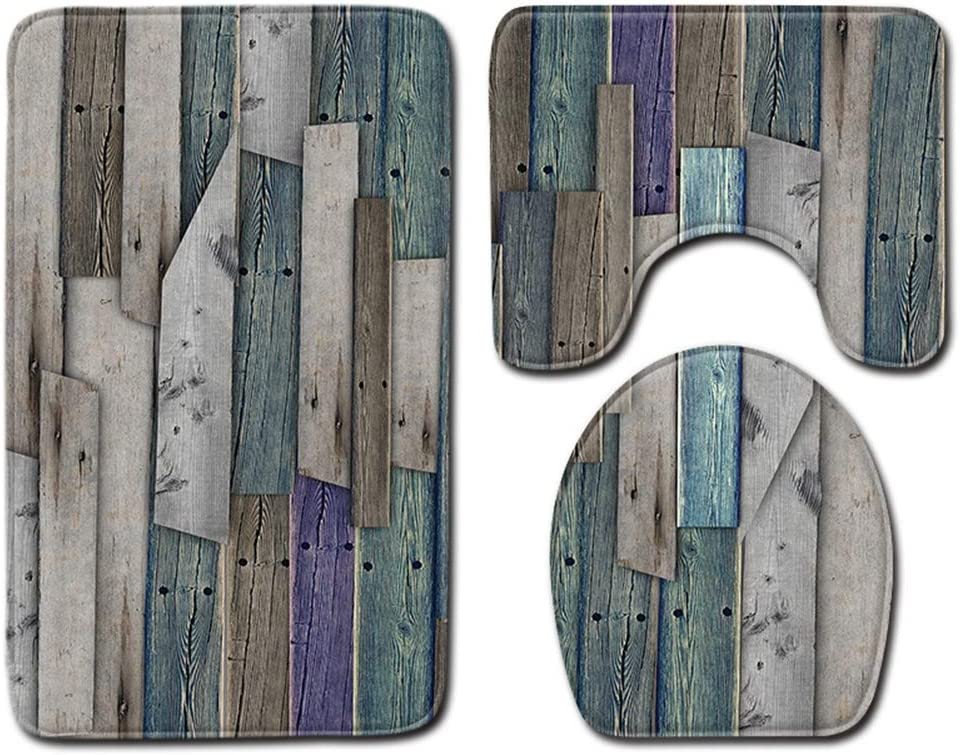 HMQQ 3 Piezas Baño Alfombras Set, Grano de Madera Textura de Madera Alfombra Aseo baño Establecer Antideslizante Estera + colchoneta en Forma de U,D,50 * 80CM