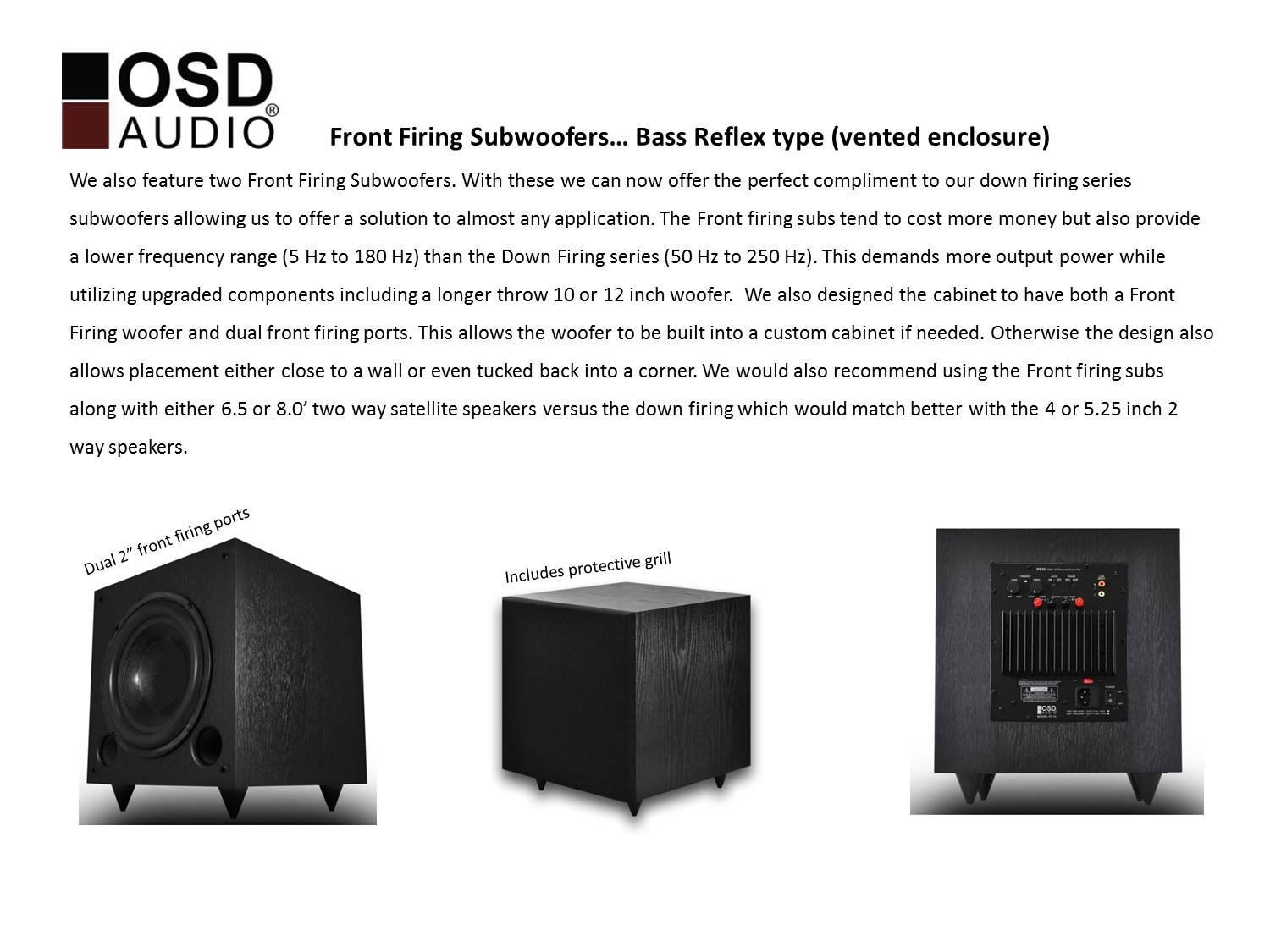 OSD Audio PS10 High Powered 10-Inch 125W Powered Premium Home Theatre Subwoofer, Black Matte Finish