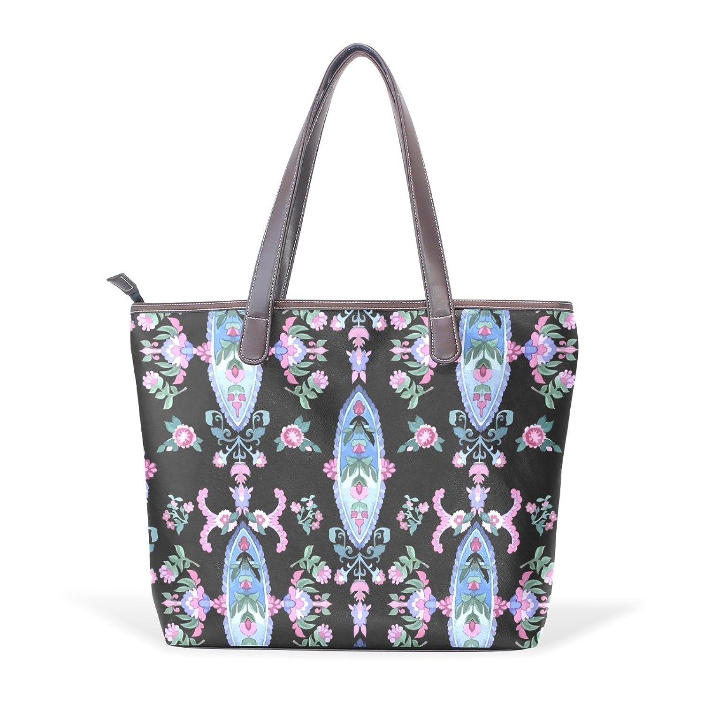 Womens Leather Tote Bag,Vintage Elegant Purple Paisley Floral ,Large Handbag