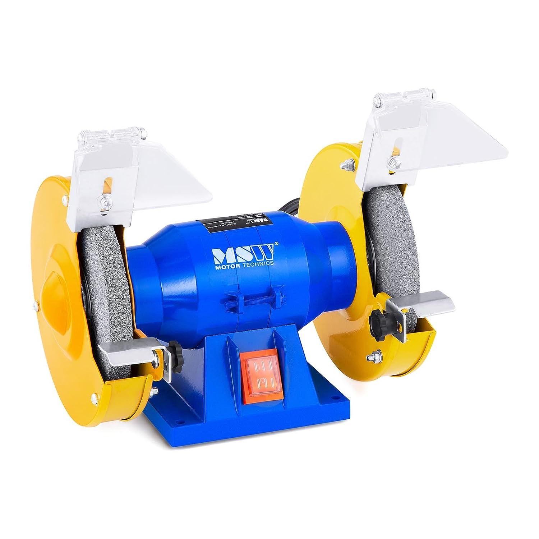 Ghisa, 350 W, Diametro mola 200 mm, 2950 rpm MSW Smerigliatrice combinata da banco Smerigliatrice da banco GRIN350D