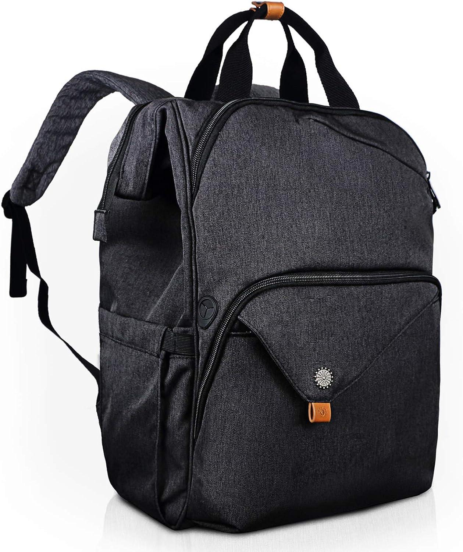 Hethrone Sac /à Dos Femme Ordinateur 15.6 Pouces Sac /à Dos Pc Antivol Imperm/éable Grand Ouvert Laptop Backpack pour Scolaire Voyage Travail D/écontract/é Noir