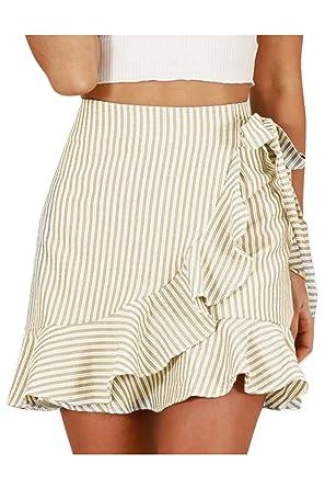 Nimpansa La Mujer Bodycon Mini Falda Rayas Ruffle Empate Frente A ...