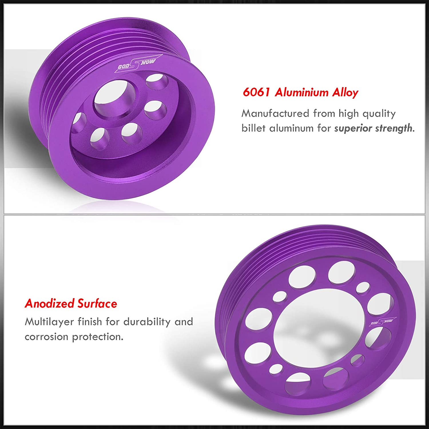 AJP Distributors JDM Performance Upgrade Light Weight Aluminum Crank Shaft Crankshaft Pulley Wheel Kit Purple For Supra MK4 MKIV JZA80 2JZ 2JZ-GTE Turbo 3.0L I6 Engine 1993 1994 1995 1996 1997 1998