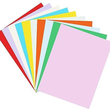 Cartulina de papel para manualidades, 100 hojas, 10 colores ...