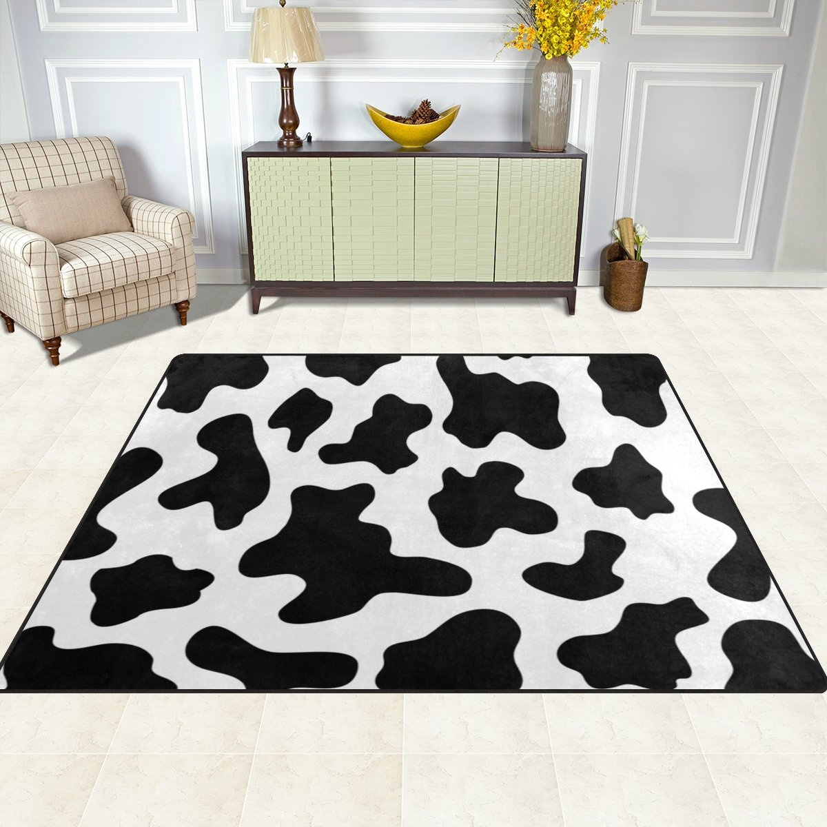 My Little Nest Black and White Cow Spot Kids Cartoon Area Rug 4'10'' x 6'8'' For Bedroom Dining Room Living Room Floor Mat Lightweight Carpet, Unique Anti Skid Indoor Outdoor Decor Soft Rug Carpets by My Little Nest (Image #3)
