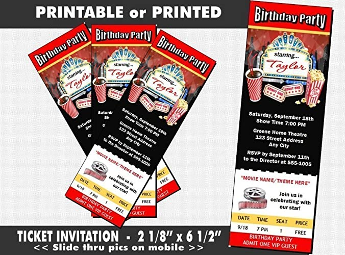 Amazon Movie Night Birthday Party Ticket Invitation Printable