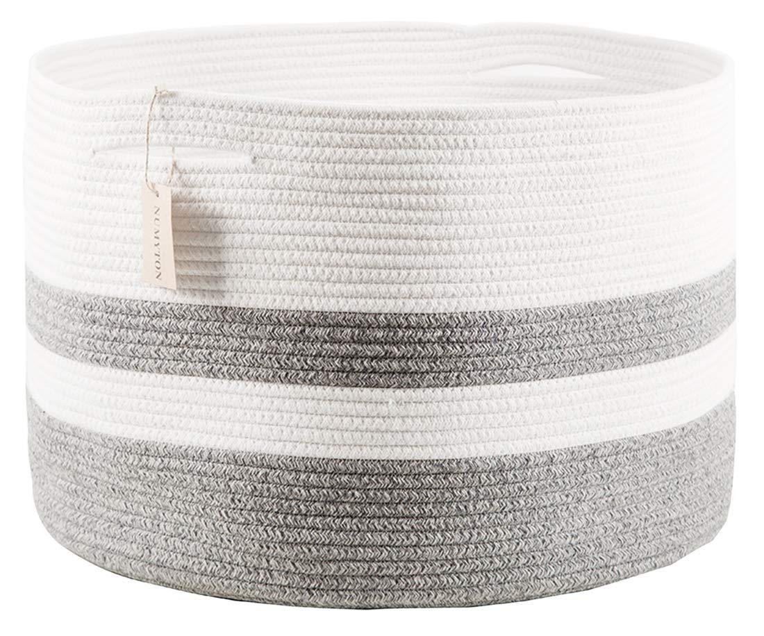 "Numyton XXXL Large Cotton Rope Laundry Basket 22"" x22""x 14"" Woven Basket,Toy Storage Basket, Blankets Basket, Nursery Hamper, White Grey"