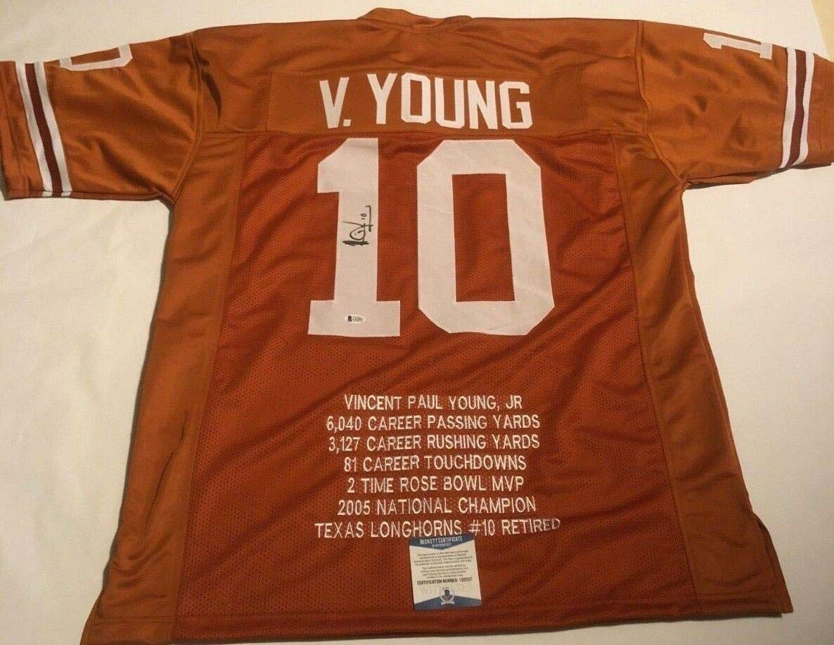 best sneakers 1d230 2c4d7 Vince Young Autographed Signed Texas Longhorns Stat Jersey ...