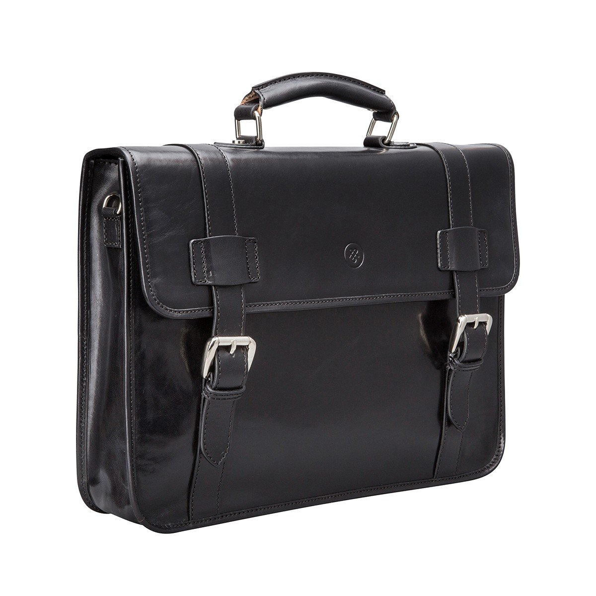 Maxwell Scott Mens Black Leather Backpack Briefcase (Micheli) by Maxwell Scott Bags (Image #3)