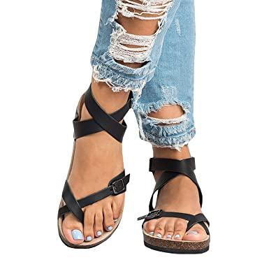 5cc9e531f697 Meilidress Womens Gladiator Peep Toe Strappy Black Sandals Ankle Strap  Buckle Flat Summer Shoes