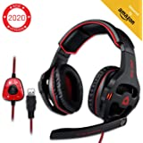 KLIM Mantis - Gaming Headphones - USB Headset with Microphone - for PC, PS4, Nintendo Switch, Mac, 7.1 Surround Sound - New 2020 Version - Noise Cancelling Gaming Headset