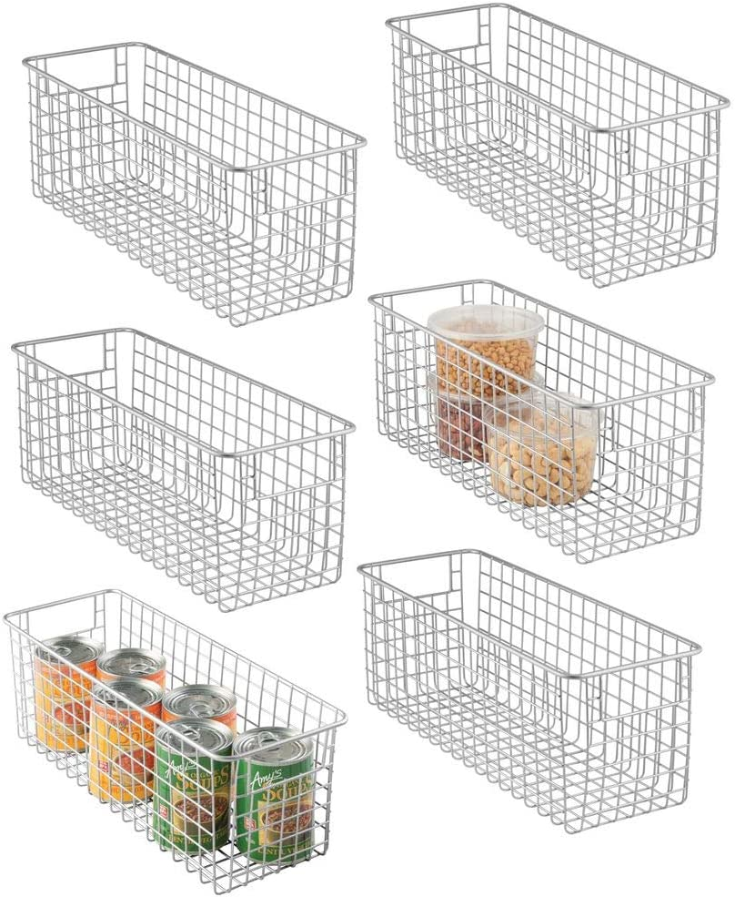 "mDesign Narrow Farmhouse Decor Metal Wire Food Storage Organizer Bin Basket with Handles for Kitchen Cabinets, Pantry, Bathroom, Laundry Room, Closets, Garage - 16"" x 6"" x 6"" - 6 Pack - Chrome"