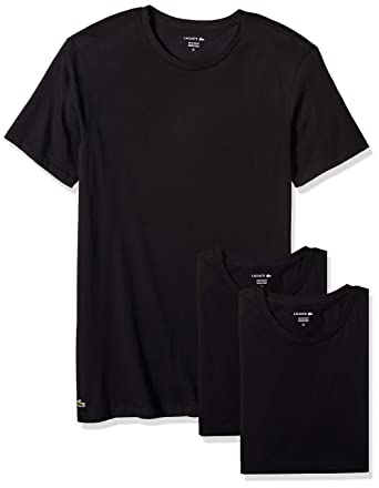 2e3c0b6ac7f0 Lacoste Men's Cotton Crew-Neck T-Shirt Undershirt (3-Pack) at Amazon ...