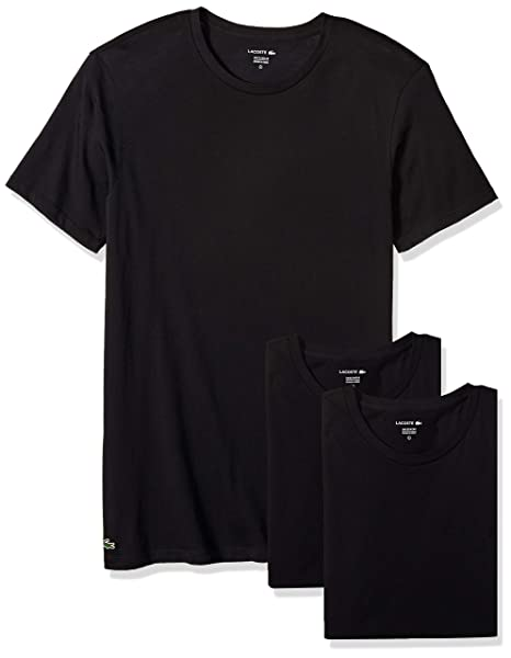 kid soft and light new authentic Lacoste Men's Cotton Crew-Neck T-Shirt Undershirt (3-Pack)