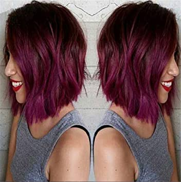 Cool2day Fashion Blackburgundy Two Tones Ombre Wig Long Bob