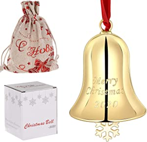 1PCS Christmas Jingle Bells Ornaments Keepsake Craft Bells Xmas Bells with Red Ribbon Hanging Christmas Tree Bells for Door Indoor Merry Christmas 2020 Souvenir Decor (Xmas Bells, Gold)