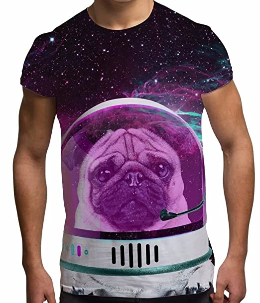 Bang Tidy Clothing All Over Print Sublimation T Shirt Graphic Tees Mens Astro Space Pug 3D