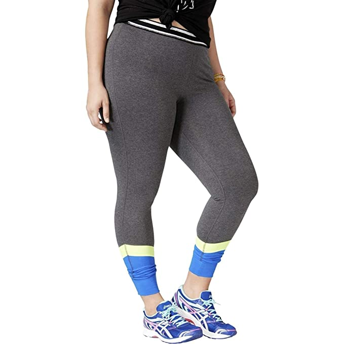 6b8897348c Material Girl Active Women's Plus Size Colorblocked Leggings (Charcoal, ...