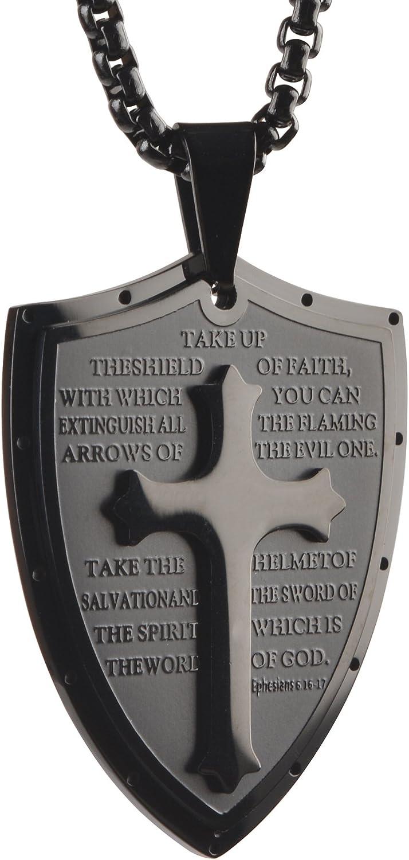 "Starmond Shield Armor of God Ephesians 6:16-17,Faith Cross Stainless Steel Pendant Necklace,Mens Cross Pendant Jewelry Necklace 24"" Chain"