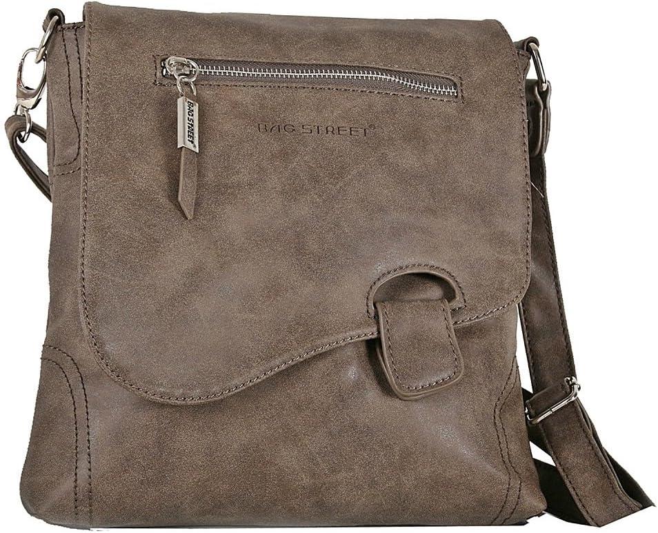 Bag Street - Bolso colgado al hombro, aspecto desgastado, marrón (Marrón) - 3421