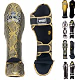Top King Shin Guard Protector Empower Creativity Superstar Color Black White Size S M L XL for Protection in Muay Thai, Boxing, Kickboxing, MMA