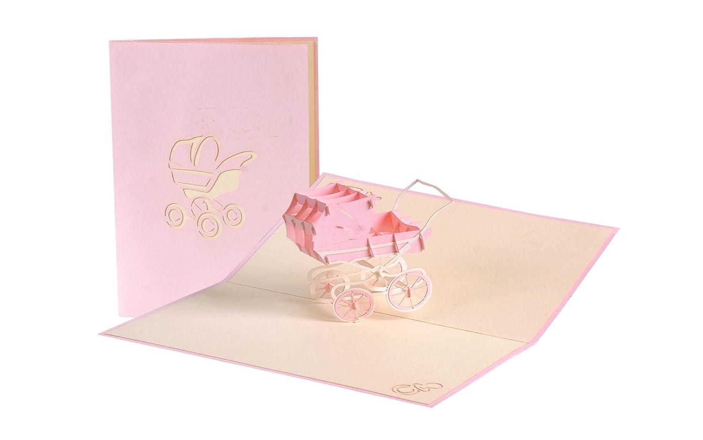Pop Up, cartolina rosa con passeggino di carta, cartolina d'auguri per la nascita di bambina, doccia per bebè da 13.3 pollici (messaggi d'auguri in lingua tedesca) Diese-Klappkarten