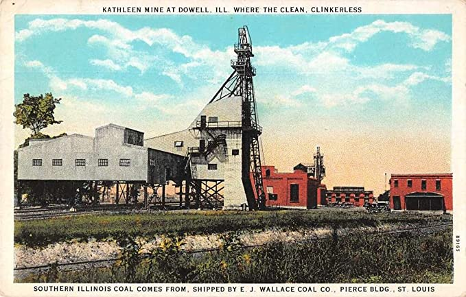 Dowell Illinois Birds Eye View Kathleen Coal Mill Antique Pc Z38004