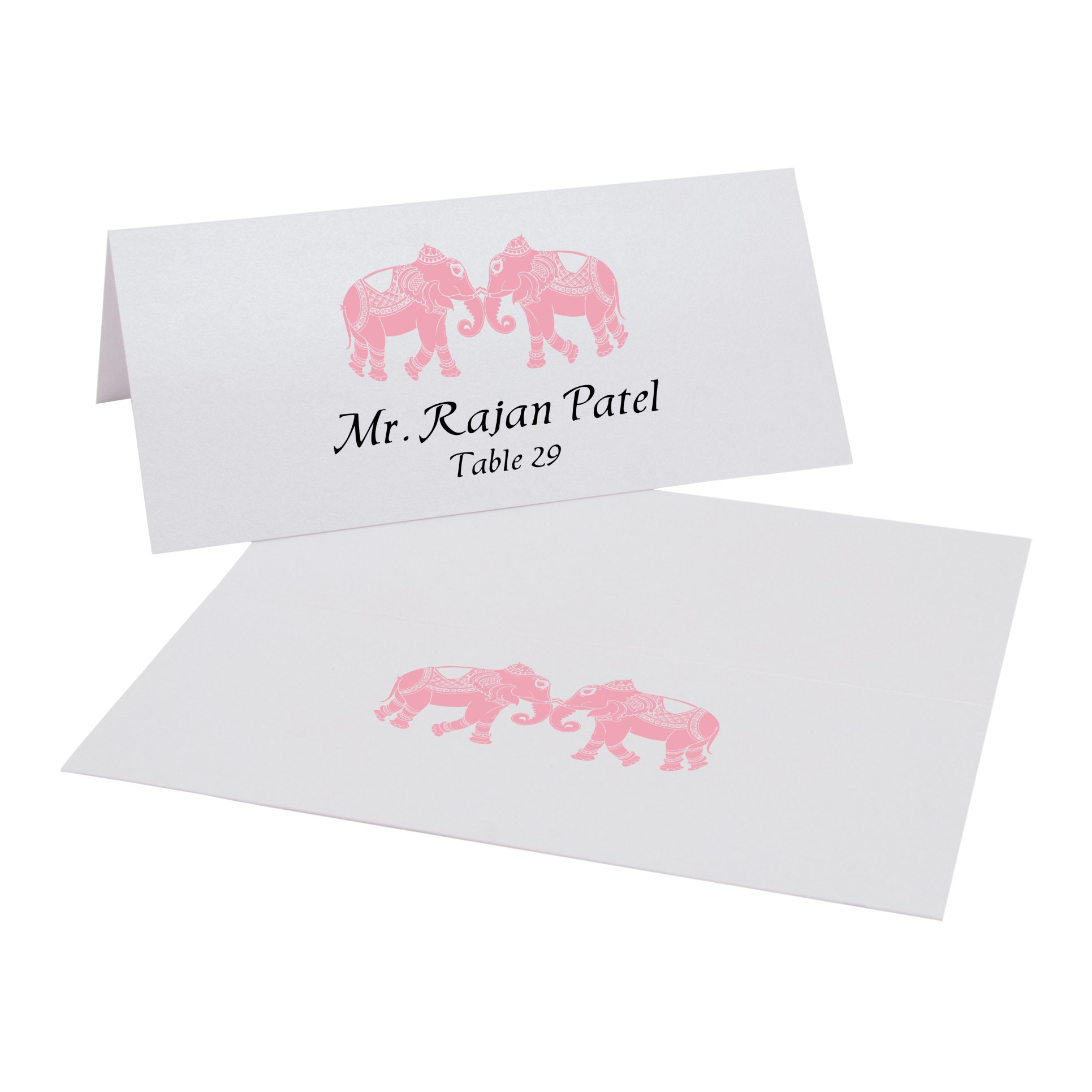 Indian Elephants Place Cards, Pearl White, Pink, Set of 375 by Documents and Designs