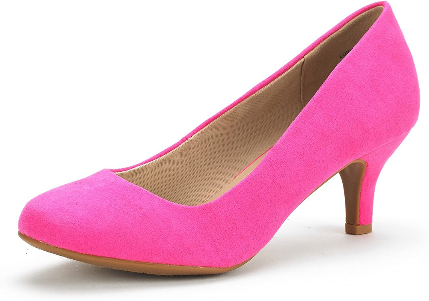 DREAM PAIRS Womens Slip On Low Kitten Heels Round Toe Pump Court Shoes Luvly Fuchsia Suede Size 7 US// 5 UK