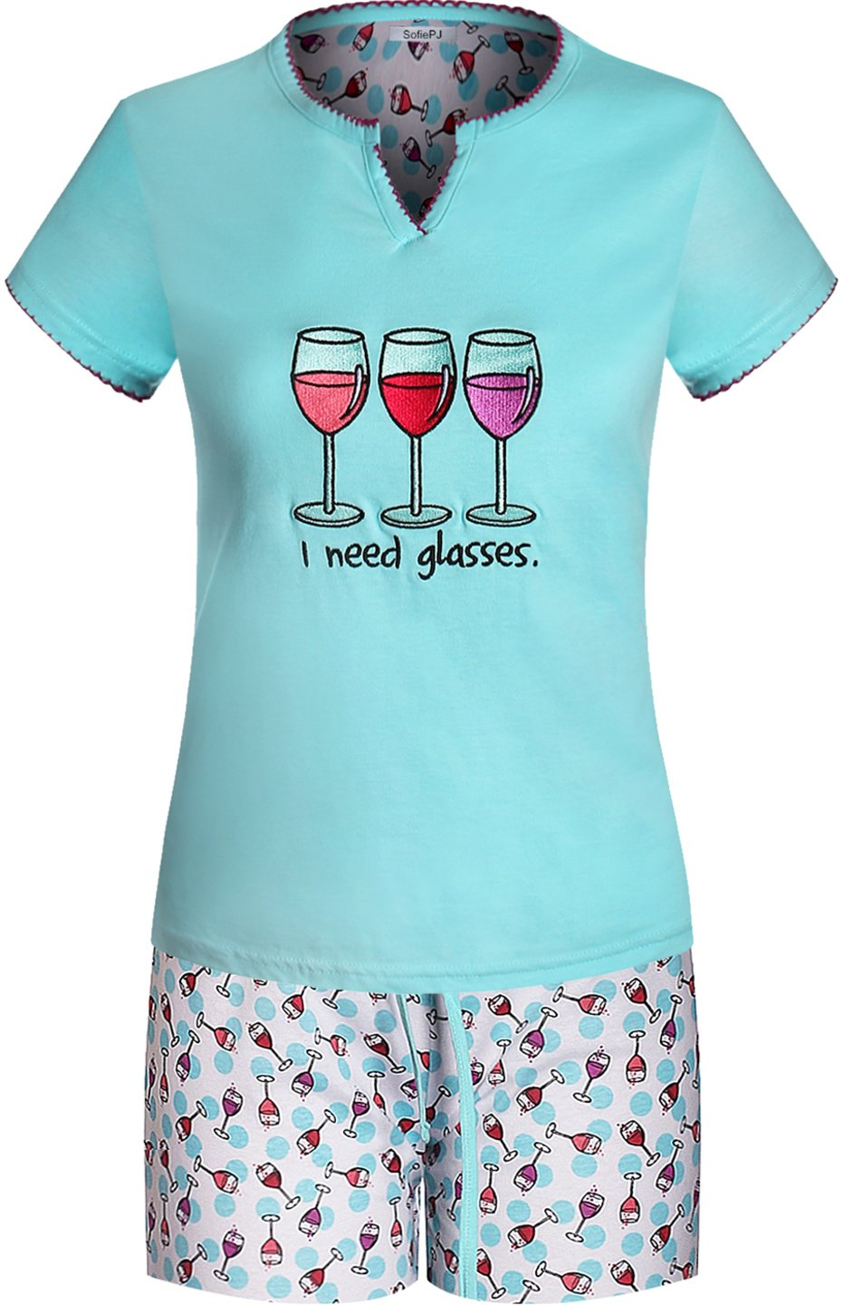 SofiePJ Women's Printed Cotton Short Sleeve Pajama Set with Short Pants Aqua M