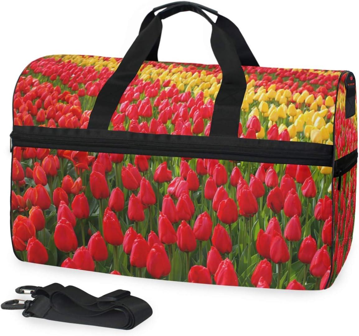 FAJRO Duffle Bag for Women Men Tulip Flower Sea Travel Duffel Bag Large Size Water-proof Tear Resistant