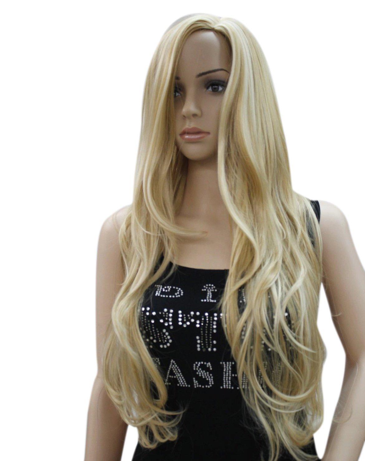 Kalyss Long Curly Wavy Blonde Women's wigs cosplay Fashion wigs DKJF007