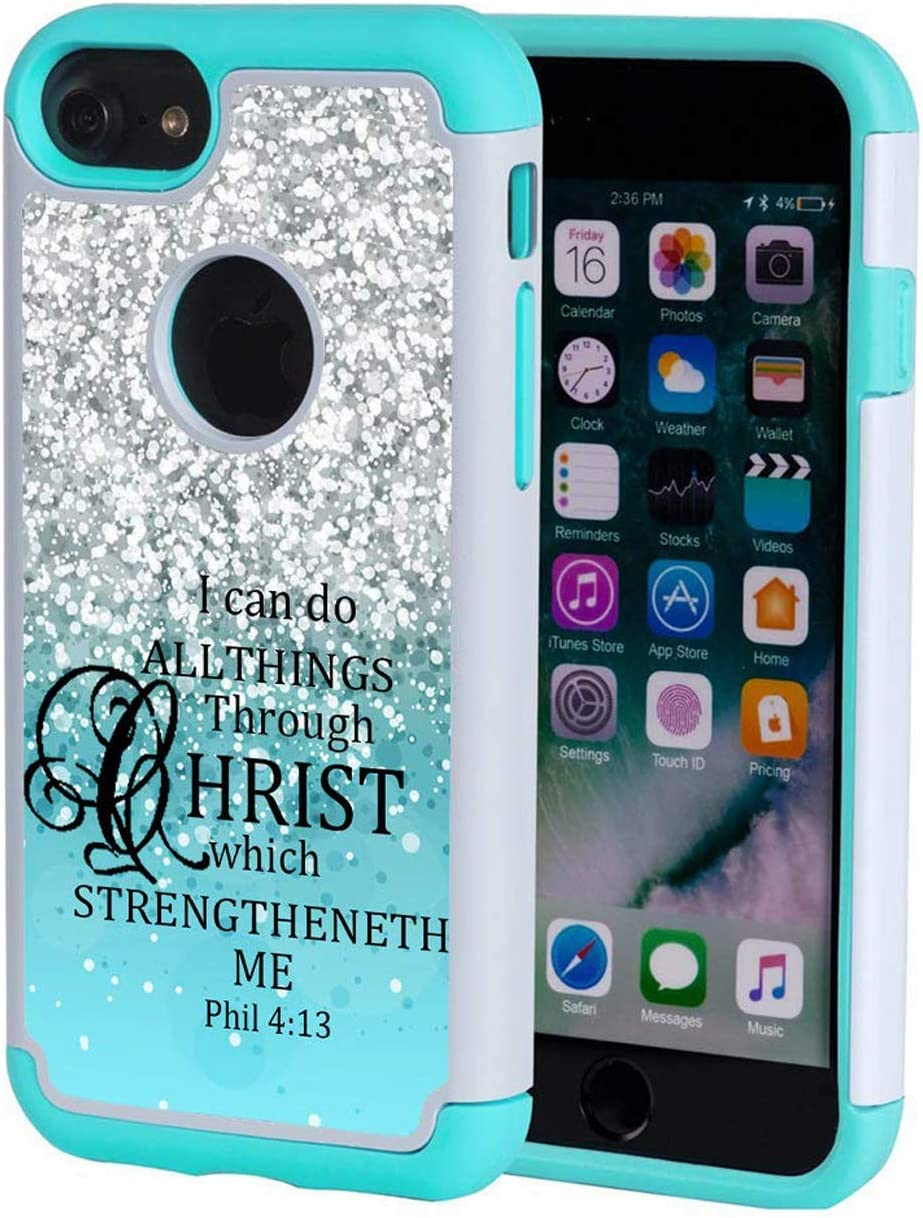 iPhone 7 Case,iPhone 8 Case Christian Quotes,SKYFREE Bible Verse Philippians 4-13 [Shockproof] Hybrid Dual Layer Armor Defender Protective Case Cover for iPhone 7 (2016) / iPhone 8 (2107)