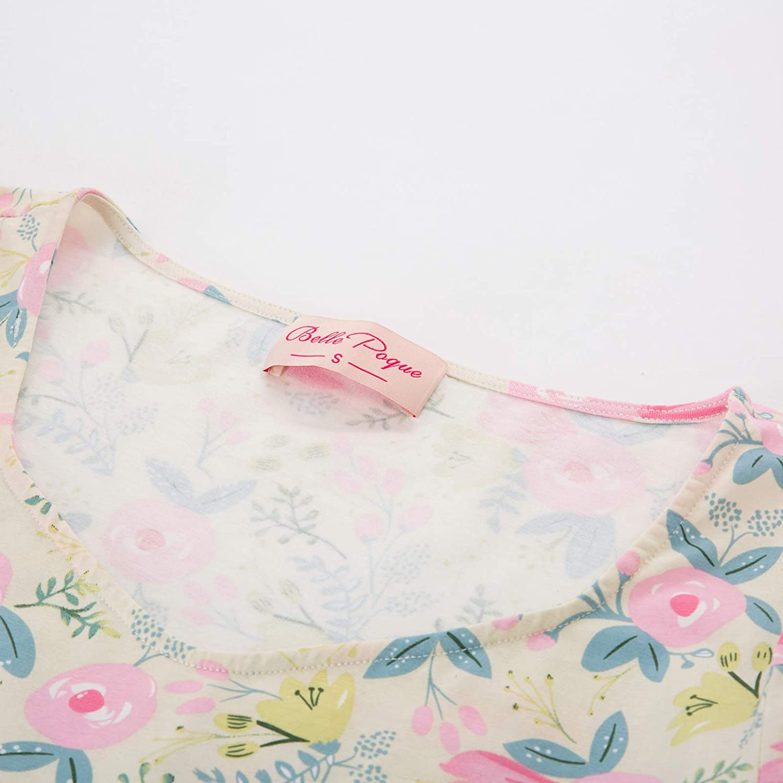Belle Poque Damen Blumendruck Bodysuit Kurzarm V-Ausschnitt Stretchy Bodycon Baumwolle Swimsuit Top