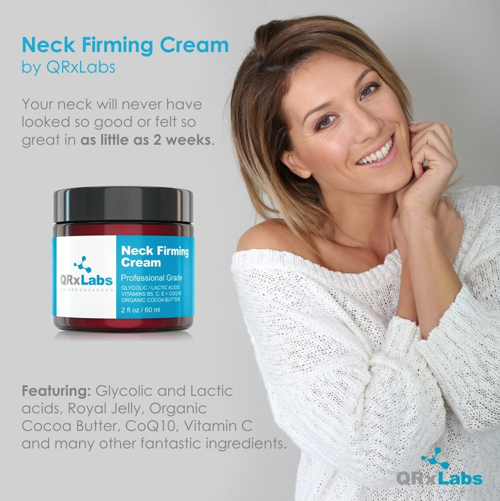 Neck Firming Cream – Tightening & Lifting Moisturizer for Loose, Wrinkled or Sagging Skin on Neck, Decollete & Chest – Best to Prevent Turkey/Crepe Neck – 2 fl oz