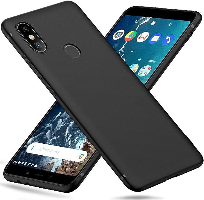 Peakally Funda Xiaomi Mi A2/6X, Negro TPU Suave Funda para Xiaomi ...