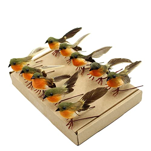 yolococa 10pcs robin bird christmas tree decoration craft very cute artificial feather - Bird Christmas Decorations