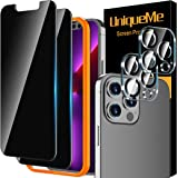 [2+2 Pack] UniqueMe Privacy Screen Protector Compatible for iPhone 13 Pro Max (6.7 inch) and Camera Lens Protector Tempered G