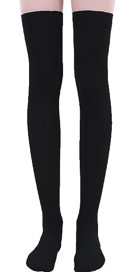 Knittex - Calcetines hasta la rodilla - para mujer negro negro Talla única