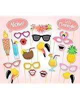 Rzctukltd Flamingo 21PCS Photo Booth Props Tropical Hawaiian Summer Hen Party Night Games