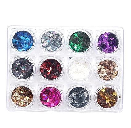 Tongshi 12pc uñas arte triángulo fluorescencia lentejuelas coloridas uñas decoración de uñas decoración