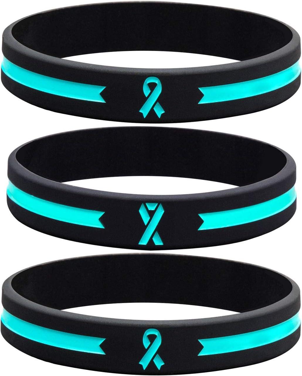 Sainstone Teal Awareness Ribbon Silicone Bracelets, Mental Health Awareness Bracelet, Teal Ribbon Wristbands Unisex for Men Women