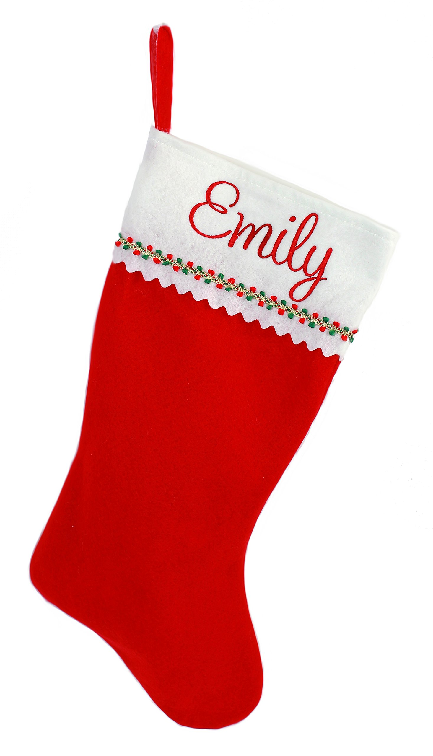 Personalized Christmas Stocking, Red and White Felt