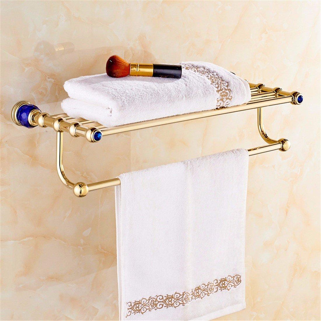 欧州ゴールデンLaonaブルーダイヤモンドクリスタル銅ベースバスルームアクセサリーセットトイレブラシトイレペーパーホルダー 9358462310054 B077DB4F74 Towel Rack