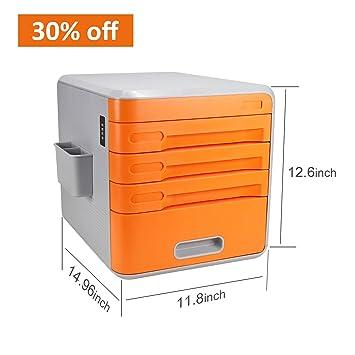 Cajonera de plástico para almacenamiento, organizador de archivos que se puede cerrar con llave, archivador A4 para oficina, color naranja, color Orange1: ...