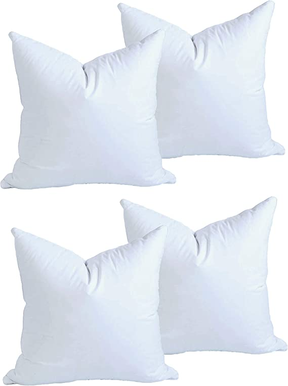 Moonrest 4 Pack Synthetic Down Square Pillow Insert Form Sham Stuffing 100 Down Alternative Microfiber Lined With Woven Cotton Cover For Throw Pillow Sofa Couch Cushion Set Of Four 8 X 8 Inch Home Kitchen Amazon Com