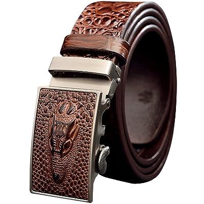 Menschwear Men's Geniune Leather Adjustable Belt with Automatic Buckle 35MM