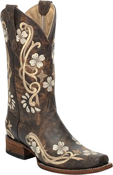ba33b215fff Corral Circle G Women's Chedron Floral Embroidered Cowgirl Boot Square Toe  Brown 6 ...