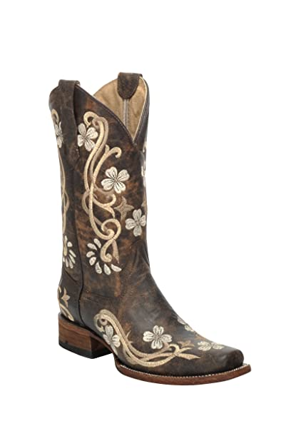 8e776a8ad13 Corral Circle G Women's 10-inch Shedron/Beige Floral Embroidery Square Toe  Cowhide Cowboy Boots - Sizes 5-12 B