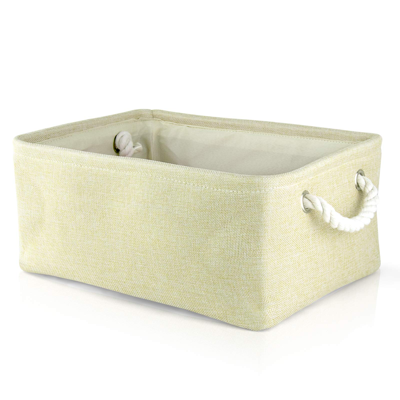 "iLoft Burlap Storage Basket with Rope Handles, Collapsible Linen Fabric Storage Basket, Storage Bins for Toys, 14.1"" X 10.2"" X 6.3"", Beige"